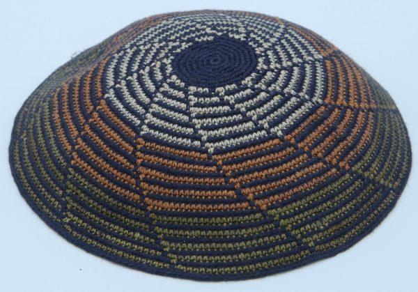 KippaCo Hand Knitted Yarmulke, Knitted Kippah Hat 15 cm 5.9 Inc 027-2a- hand knitted kippah, kippah. 100 cotton, Bar Mitzvah kippah, Wedding Kipp