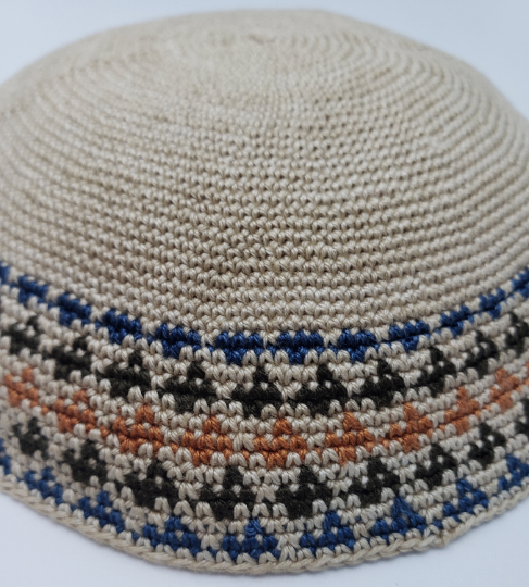 Hand Knitted Yarmulke, Knitted Kippah Hat 15.7 cm-6.2 Inc. KippaCo 114 hand kntted kippah, Fast shipping. US seller. Top quality kippah. 100% cotton, Bar Mitzvah kippah, Wedding Kippah. Best Kippah.