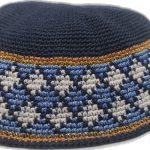 KippaCo Hand Knitted Yarmulke, Knitted Kippah Hat 15 cm 5.9 Inc 025-1-hand knitted kippah, kippah. 100 cotton, Bar Mitzvah kippah, Wedding Kippa