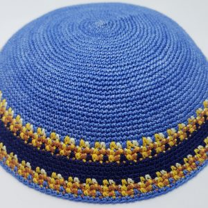 KippaCo Hand Knitted Yarmulke, Knitted Kippah Hat 15 cm 5.9 Inc 025a-1-hand knitted kippah, kippah. 100 cotton, Bar Mitzvah kippah, Wedding Kippa