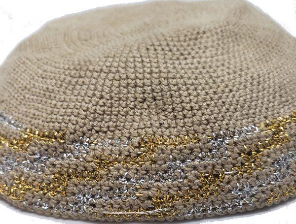 KippaCo Hand Knitted Yarmulke, Knitted Kippah Hat 15 cm 5.9 Inc 043-1-hand knitted kippah, kippah. 100 cotton, Bar Mitzvah kippah, Wedding Kippa