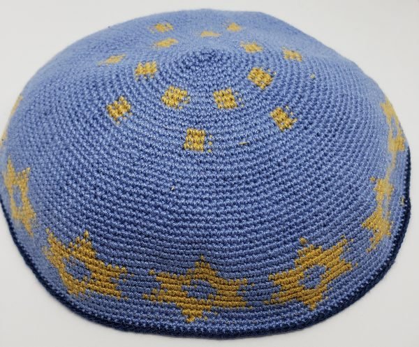 KippaCo Hand Knitted Yarmulke, Knitted Kippah Hat 15 cm 5.9 Inc 047a-hand knitted kippah, kippah. 100 cotton, Bar Mitzvah kippah, Wedding Kippa