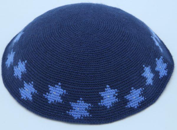 KippaCo Hand Knitted Yarmulke, Knitted Kippah Hat 15 cm 5.9 Inc 067a-m- hand knitted kippah, kippah. 100 cotton, Bar Mitzvah kippah, Wedding Kipp