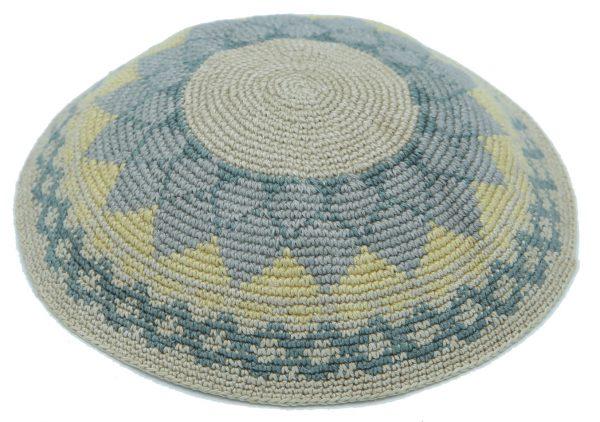 KippaCo Hand Knitted Yarmulke, Knitted Kippah Hat 15 cm 5.9 Inc 116a-hand knitted kippah, kippah. 100 cotton, Bar Mitzvah kippah, Wedding Kippah.