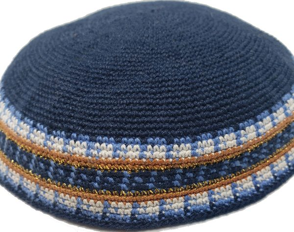 KippaCo Hand Knitted Yarmulke, Knitted Kippah Hat 15 cm 5.9 Inc 129-a-hand knitted kippah, kippah. 100 cotton, Bar Mitzvah kippah, Wedding Kippa