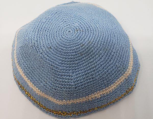 KippaCo Hand Knitted Yarmulke, Knitted Kippah Hat 15 cm 5.9 Inc 138-2-hand knitted kippah, kippah. 100 cotton, Bar Mitzvah kippah, Wedding Kippa