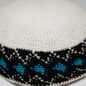 KippaCo Hand Knitted Yarmulke, Knitted Kippah Hat 15 cm 5.9 Inc 144-4-hand knitted kippah, kippah. 100 cotton, Bar Mitzvah kippah, Wedding Kippa