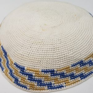 KippaCo Hand Knitted Yarmulke, Knitted Kippah Hat 15 cm 5.9 Inc 150-1-hand knitted kippah, kippah. 100 cotton, Bar Mitzvah kippah, Wedding Kippa