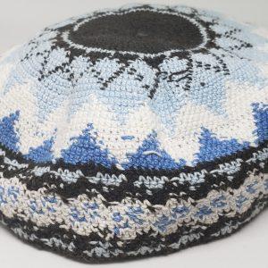 KippaCo Hand Knitted Yarmulke, Knitted Kippah Hat 15 cm 5.9 Inc 158-2-hand knitted kippah, kippah. 100 cotton, Bar Mitzvah kippah, Wedding Kippa