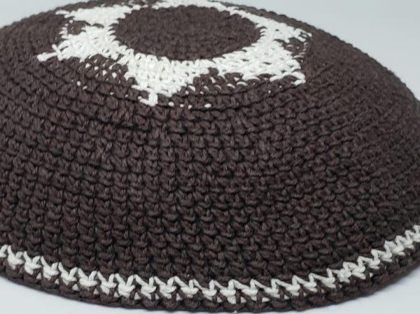 KippaCo Hand Knitted Yarmulke, Knitted Kippah Hat 15 cm 5.9 Inc 162-1-hand knitted kippah, kippah. 100 cotton, Bar Mitzvah kippah, Wedding Kippa