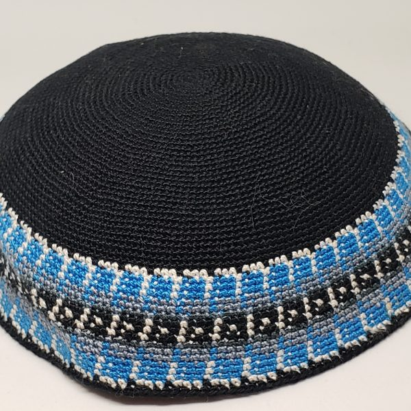 KippaCo Hand Knitted Yarmulke, Knitted Kippah Hat 15 cm 5.9 Inc 163-1-hand knitted kippah, kippah. 100 cotton, Bar Mitzvah kippah, Wedding Kippa