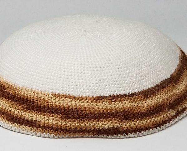 KippaCo Hand Knitted Yarmulke, Knitted Kippah Hat 15 cm 5.9 Inc 184-2-hand knitted kippah, kippah. 100 cotton, Bar Mitzvah kippah, Wedding Kippa