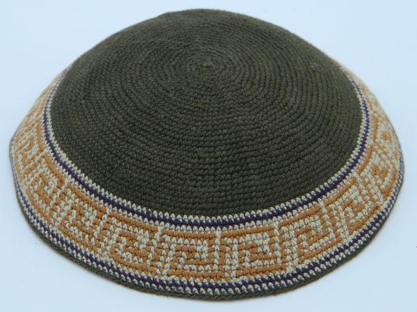 KippaCo Hand Knitted Yarmulke, Knitted Kippah Hat 15 cm5.9 Inc 115-2a hand knitted kippah, kippah. 100% cotton, Bar Mitzvah kippah, Wedding Kippa